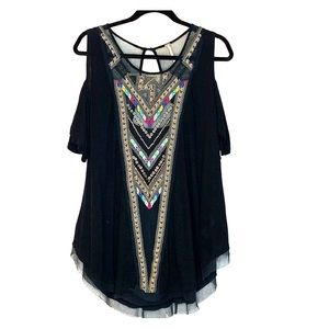 FREE PEOPLE Cold Shoulder Beaded Embroider Top L